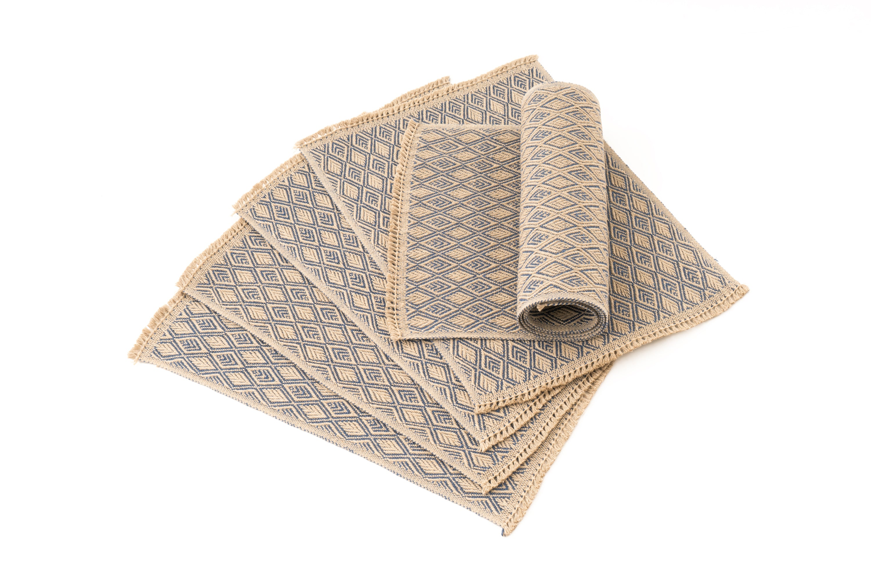 """Diamonds"" Handwoven Hemp Placemat & Table Runner Set"