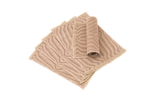 """Waves B"" Handwoven Hemp Placemat & Table Runner Set"