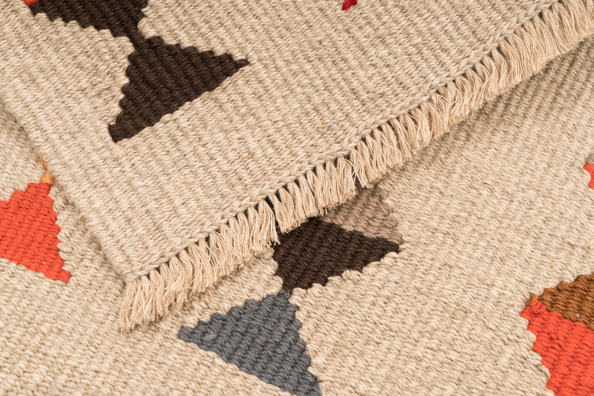 """Lovely Life"" Handwoven Hemp Designer Mini Rug"