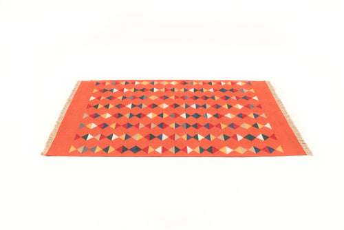 """Lovely Life"" Handwoven Hemp Designer Rug in Red"