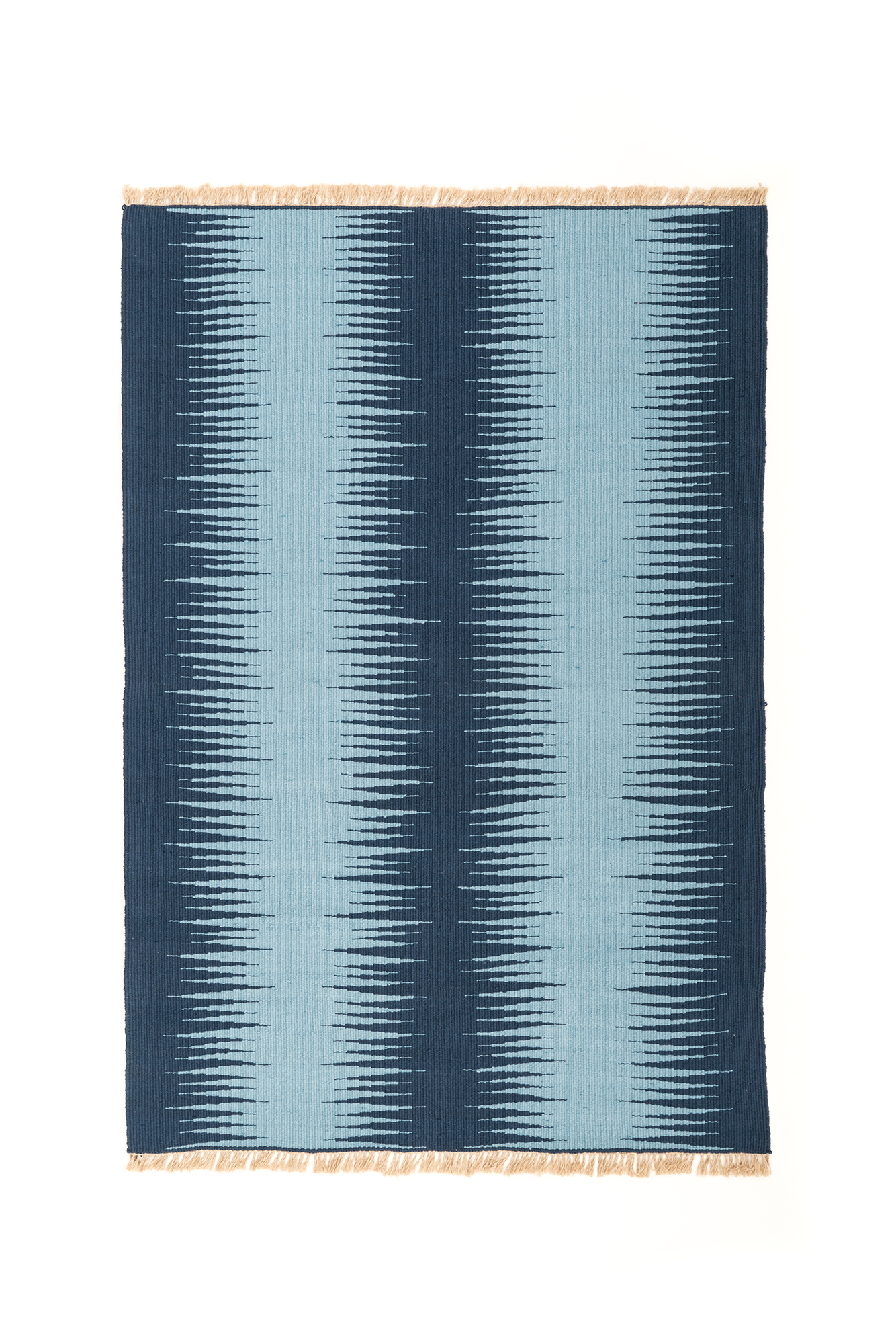 """Blue Duo Dream Frequency"" Handwoven Hemp Designer Rug"