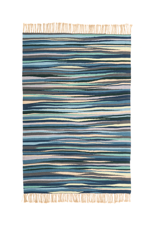 """Illusions of Color"" Handwoven Hemp Designer Rug"