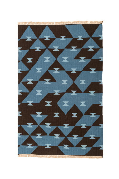 """Game Board"" Handwoven Hemp Designer Rug in Shades of Blue/Brown"
