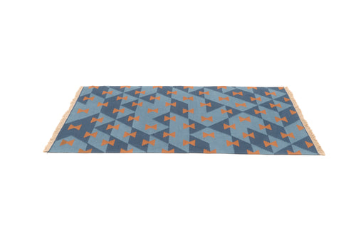 """Game Board"" Handwoven Hemp Designer Rug in Shades of Blue"