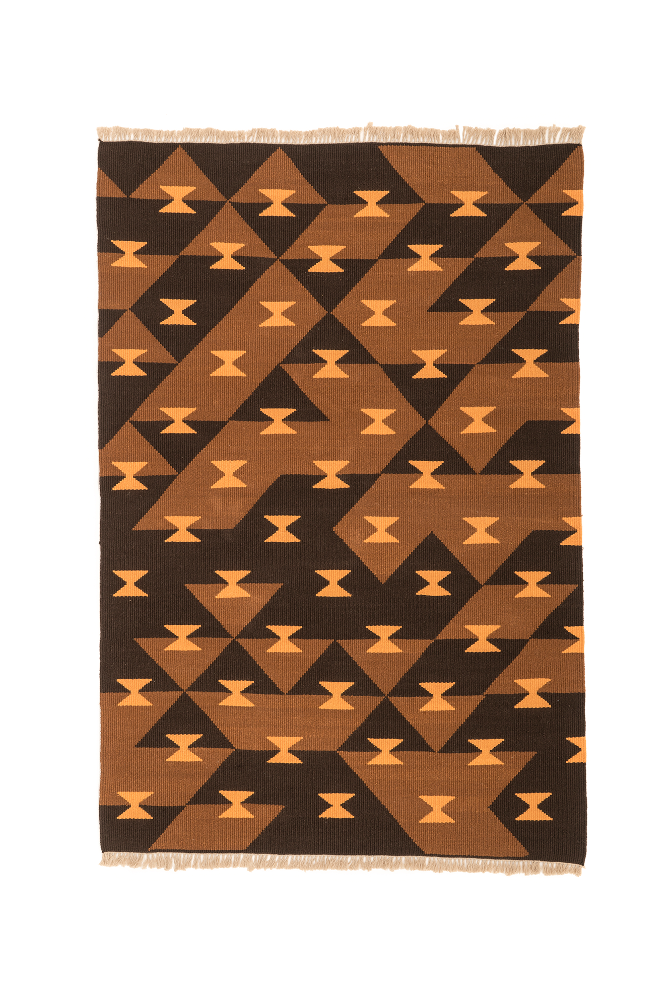 """Game Board"" Handwoven Hemp Designer Rug in Shades of Brown"