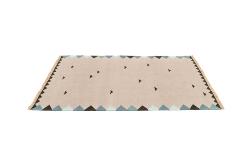 """Light Rain"" Handwoven Hemp Designer Rug"