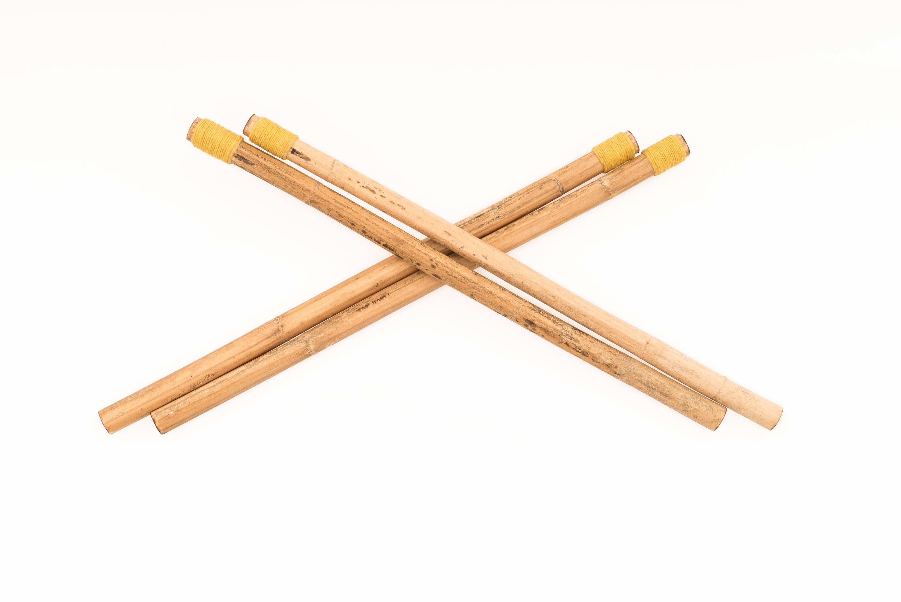 """Two Pairs: Hollow Medium Wrapped & Roots Medium Wrapped"" Hemp Stalk Drumsticks"