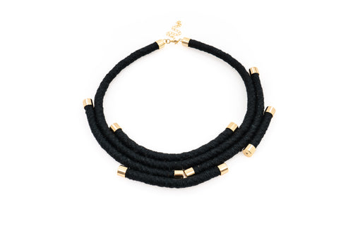 Fiber Art Jewelry Hemp Wrapped Choker Necklace in Black