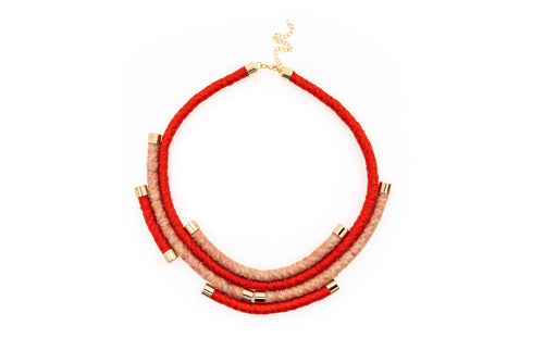 Fiber Art Jewelry Hemp Wrapped Choker Necklace in Pink and Coral