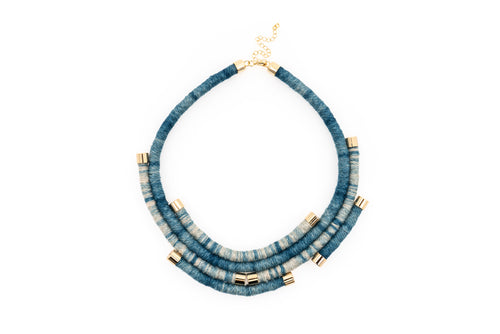 Fiber Art Jewelry Hemp Wrapped Choker Necklace in Dip Dyed Indigo
