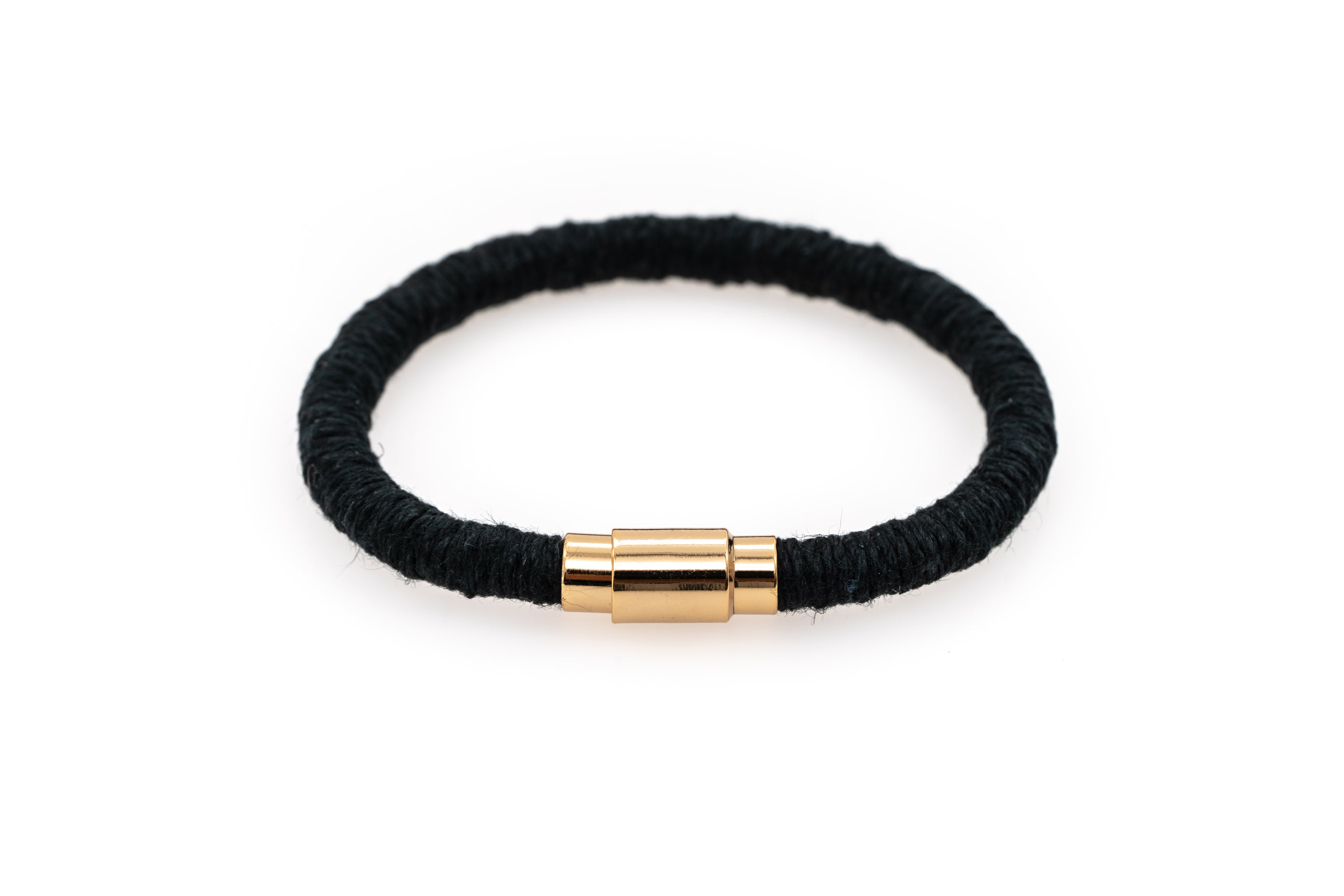 Fiber Art Jewelry Hemp Wrapped Bracelet Size S - Black / Gold Plated Magnet