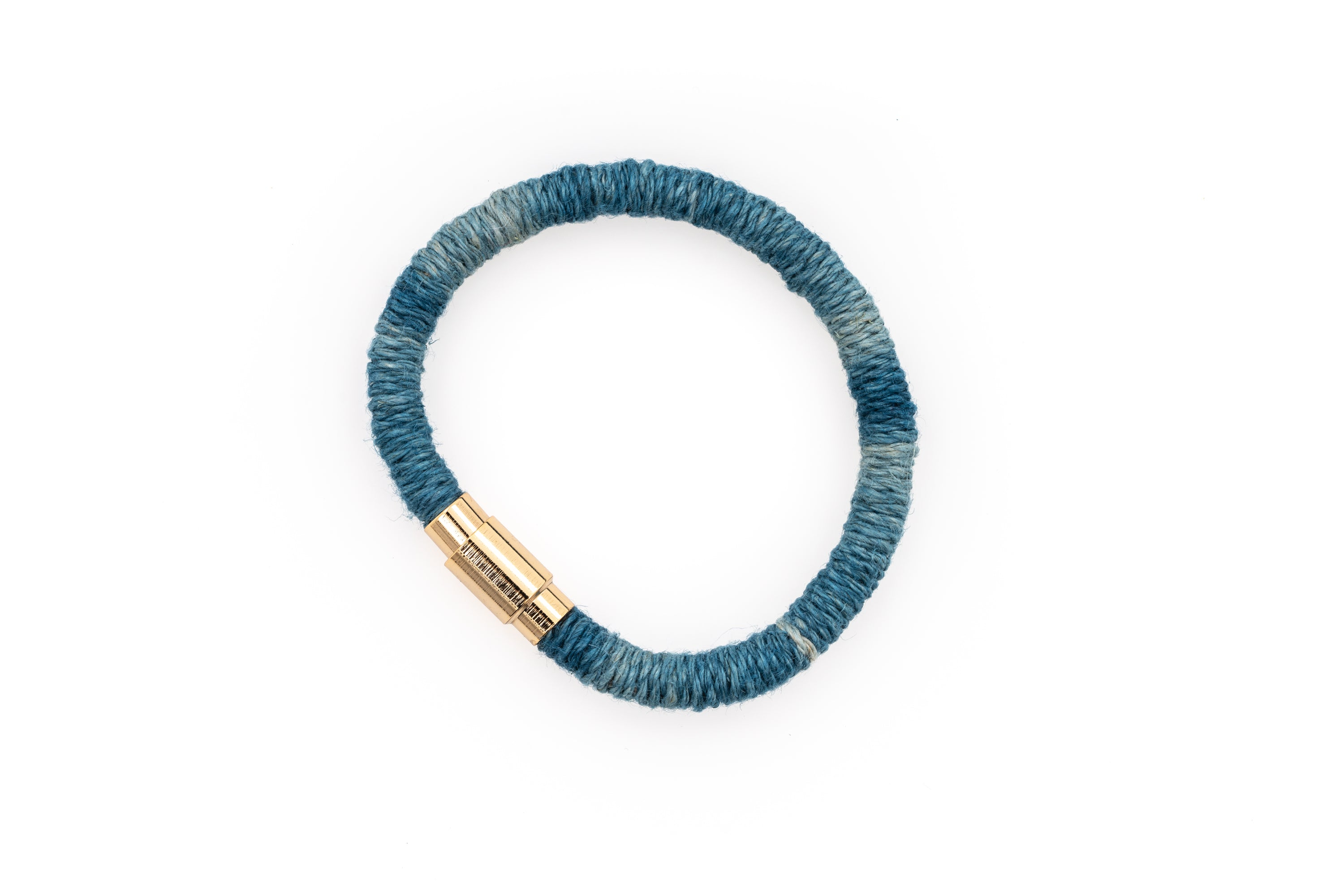 Fiber Art Jewelry Hemp Wrapped Bracelet Size S - Darker Blue / Gold Plated Magnet