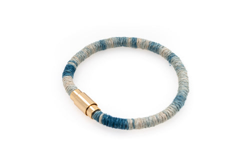 Fiber Art Jewelry Hemp Wrapped Bracelet Size S - Lighter Blue / Gold Plated Magnet