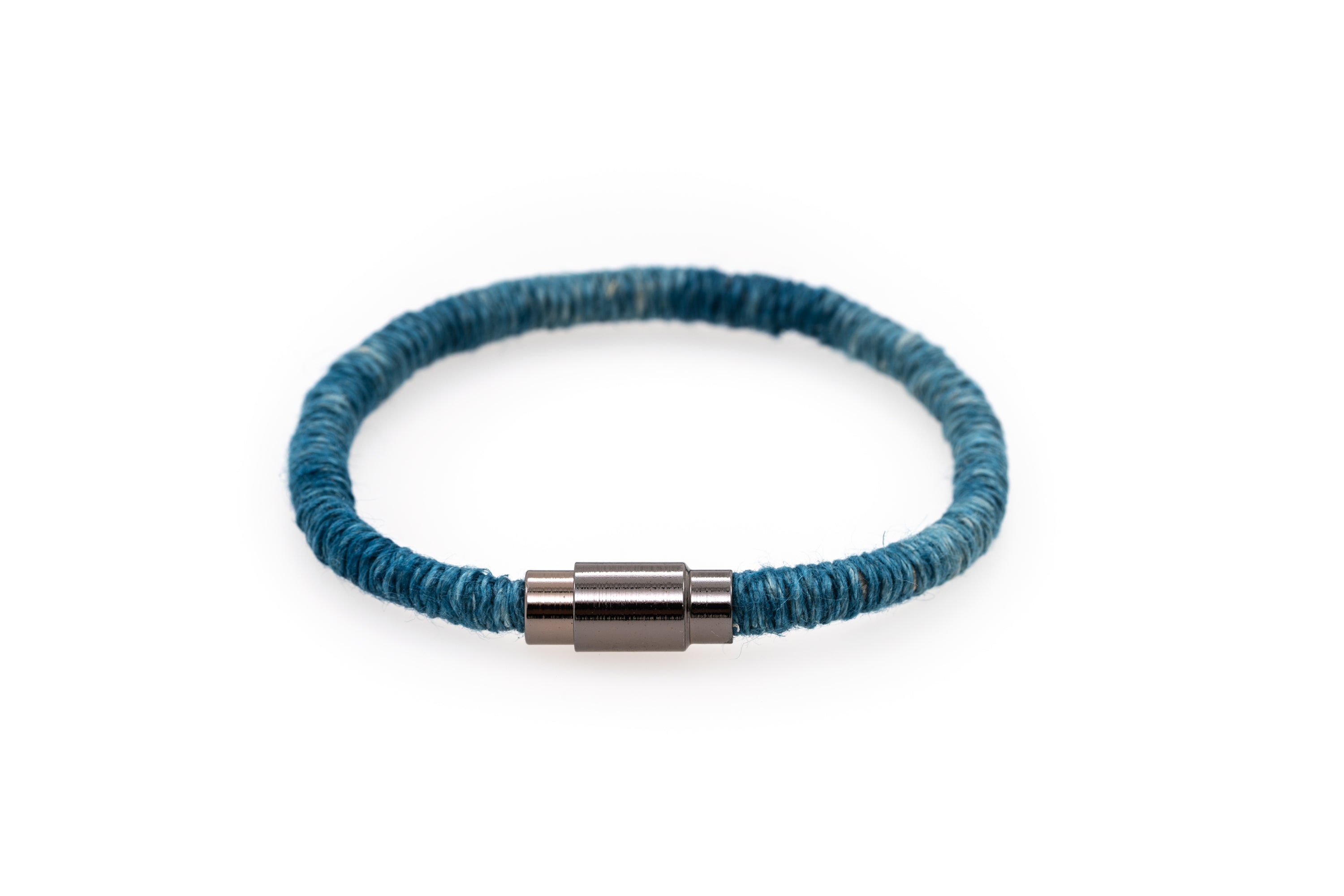 Fiber Art Jewelry Hemp Wrapped Bracelet Size L- Darker Blue / Antiquated Patina Plated Magnet