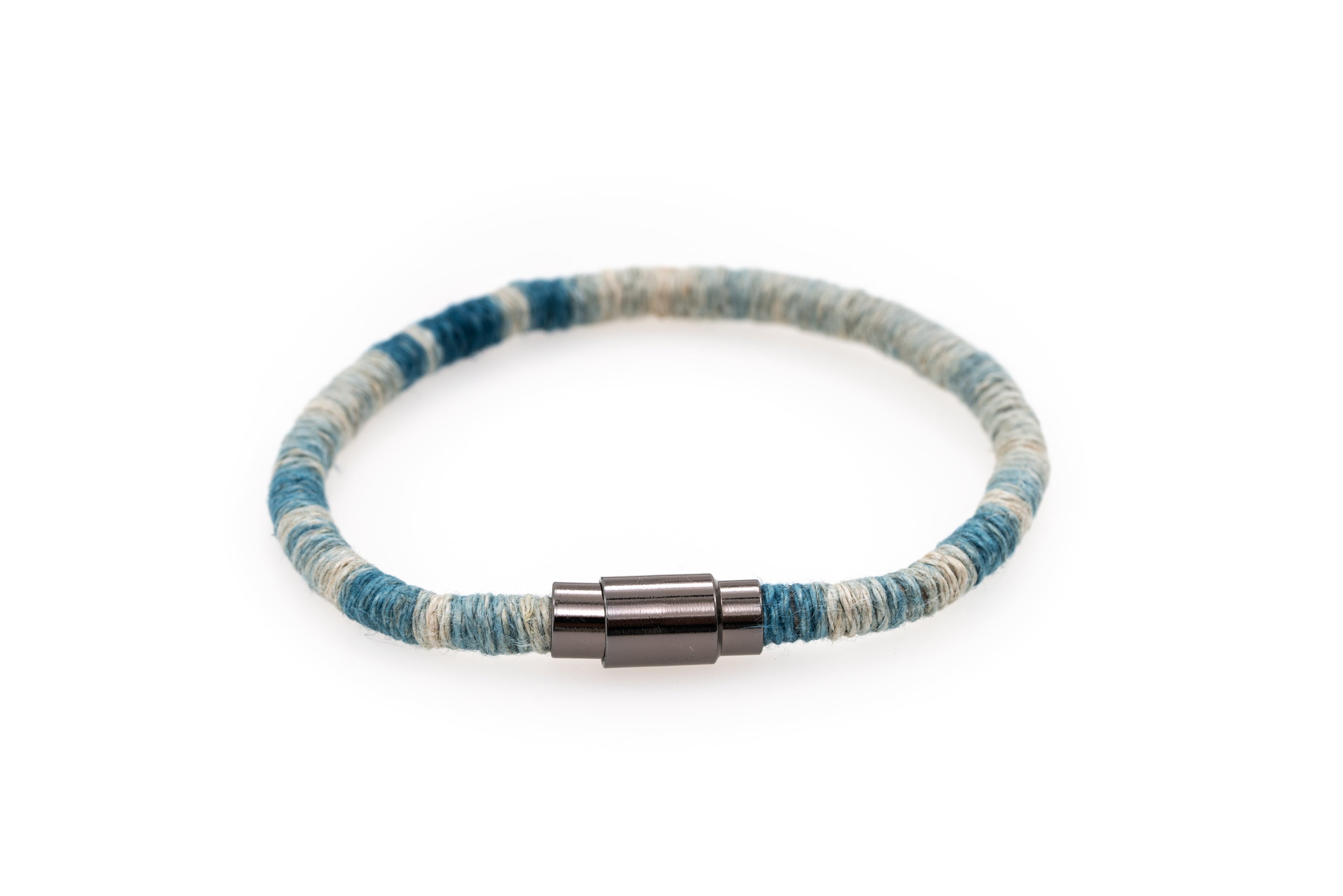 Fiber Art Jewelry Hemp Wrapped Bracelet Size L - Lighter Blue / Antiquated Patina Plated Magnet