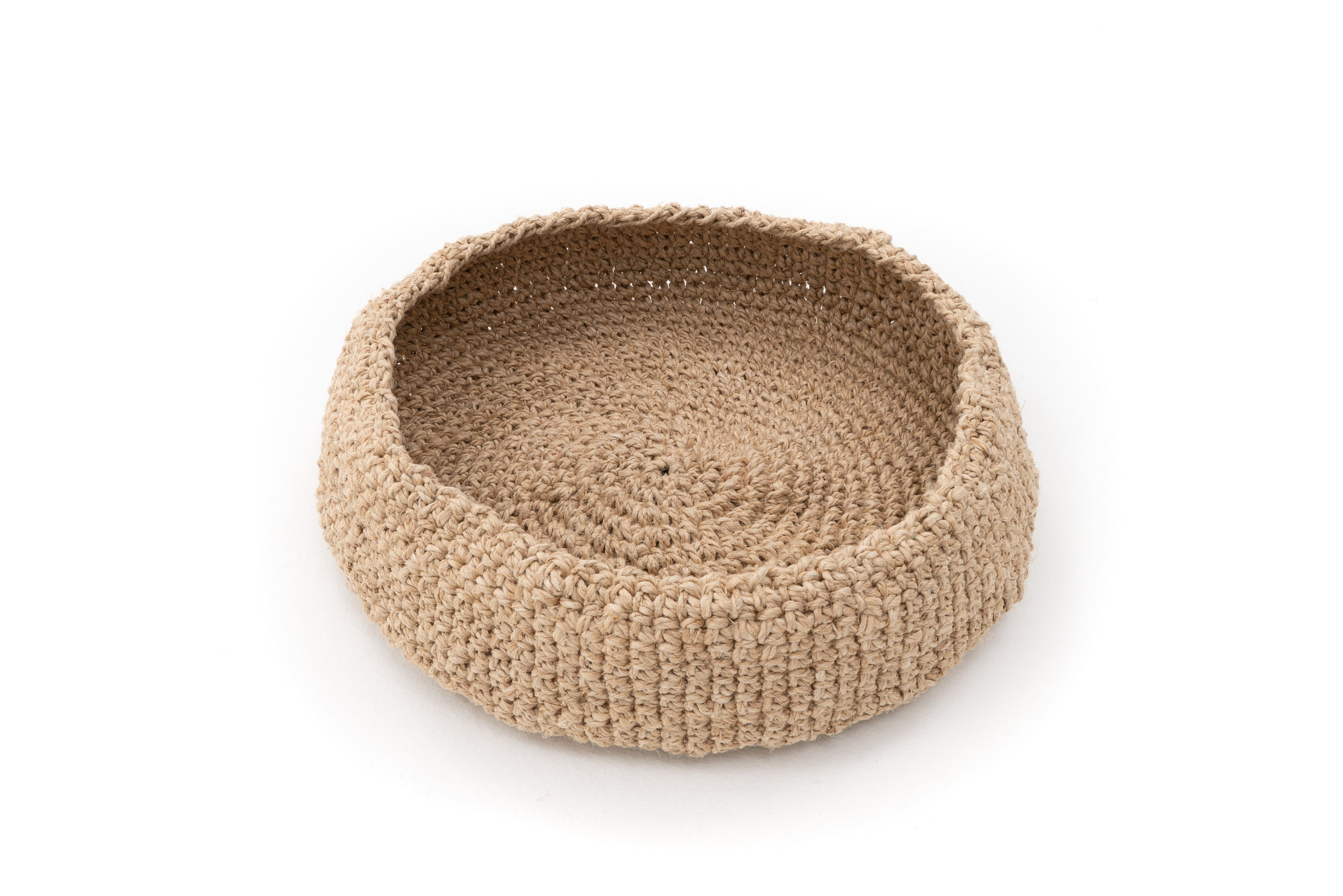 Hand Crocheted Handspun Hemp Basket