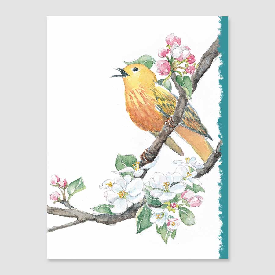 199MN yellow warbler mini-note card
