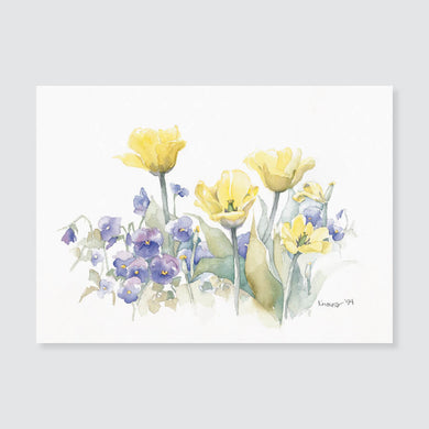 120 tulips with pansies note card / mini-note card