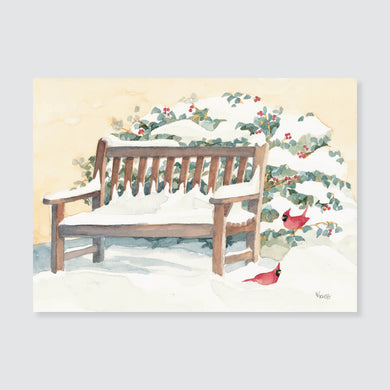 124 bench with cardinals note card / mini-note card