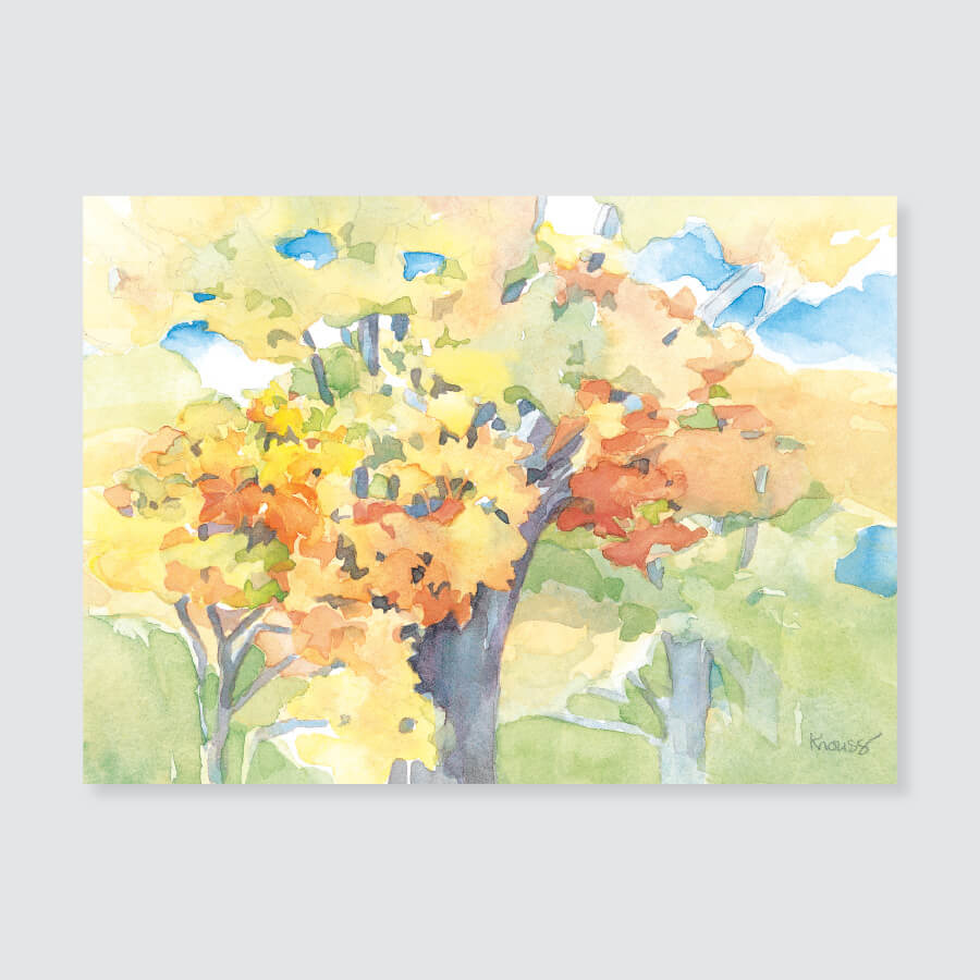 138 autumn leaves note card / mini-note card