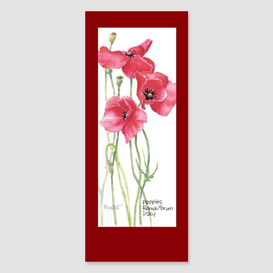 182BMC red poppy bookmark card