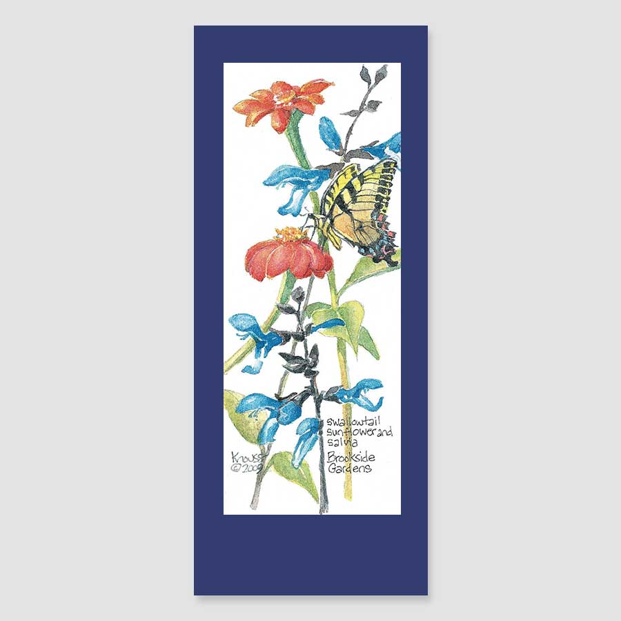 194BMC swallowtail with salvia bookmark card
