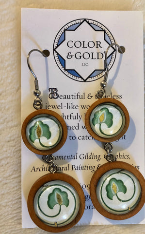 Color & Gold Silver Sage Wood Earrings