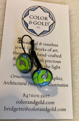 Color & Gold Radiant Star Earrings Chartreuse
