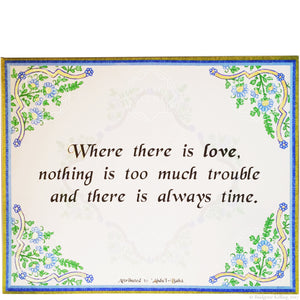 "Green, blue and 24 kt gold floral pattern love quotation on canvas 8"" x 10"""