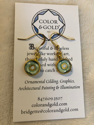 Color & Gold Silver Sage Earrings