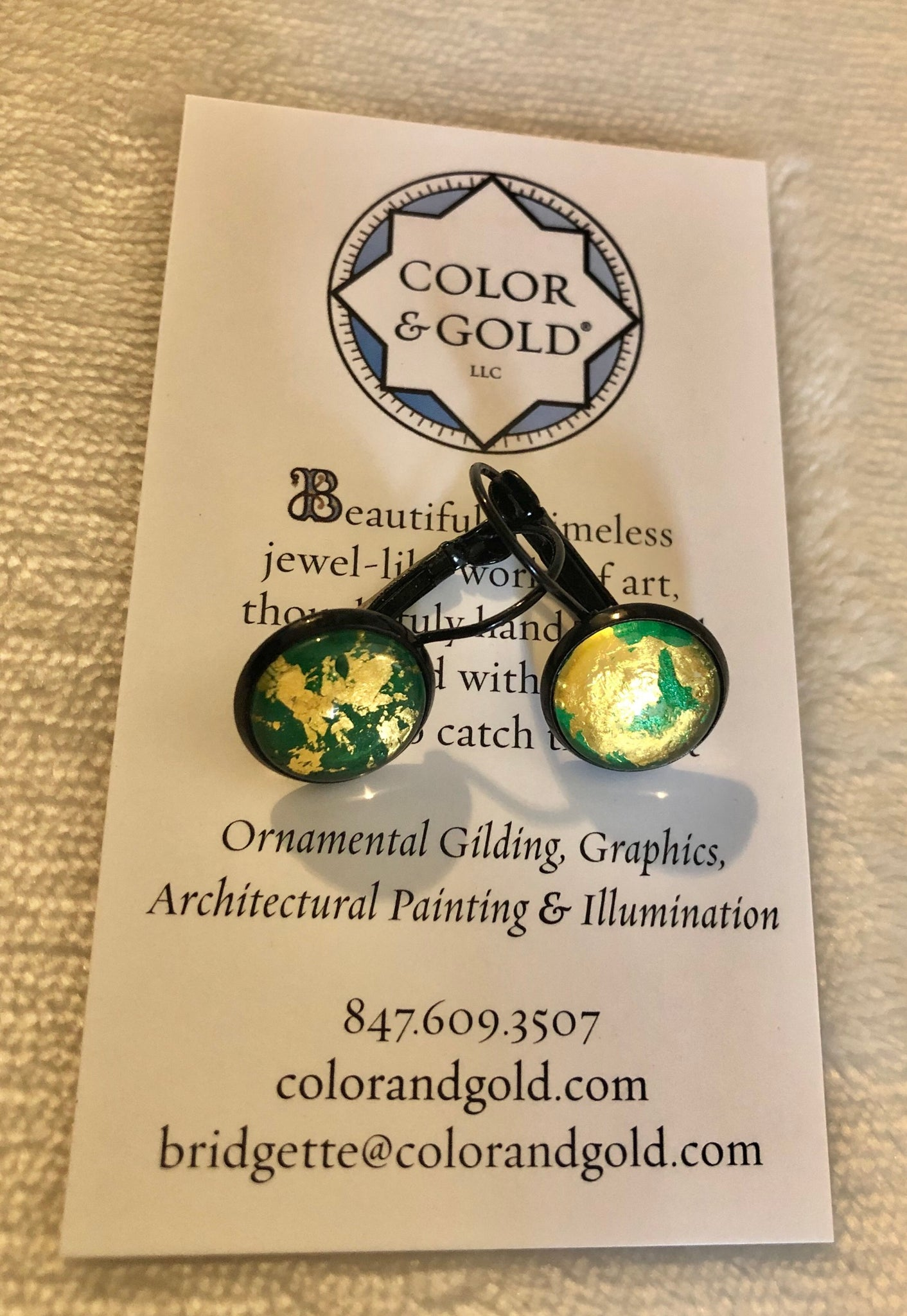 Color & Gold Abstract Earrings in green &  gold