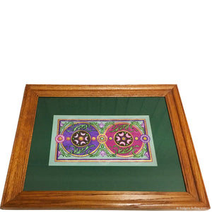 "Framed & signed original green, purple & mulberry illumination with 23 kt gold gilding, ""Huckleberry Moons"", 13.5""x16.5"" - Color & Gold LLC © Bridgette Kelling"