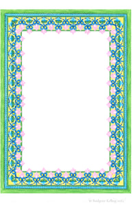 Custom 24 kt gold gilded green, pink & blue colored pencil ornamental illuminated border - Color & Gold LLC © Bridgette Kelling