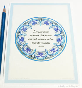 "Art Deco blue, grey & 24 kt gold gilded illuminated better day Bahá'í quotation 5"" x 7"" - Color & Gold LLC © Bridgette Kelling"