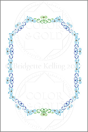 "4""x6"" Blue & Green Vines Border - Color & Gold LLC © Bridgette Kelling"
