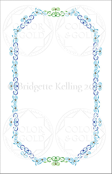 "5.5""x8.5"" Blue & Green Vines Border - Color & Gold LLC © Bridgette Kelling"