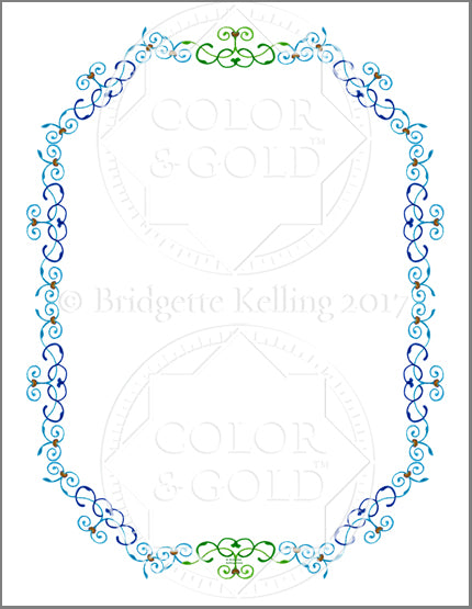 "8.5""x11"" Blue & Green Vines Border - Color & Gold LLC © Bridgette Kelling"