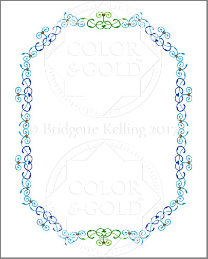 "8""x10"" Blue & Green Vines Border - Color & Gold LLC © Bridgette Kelling"