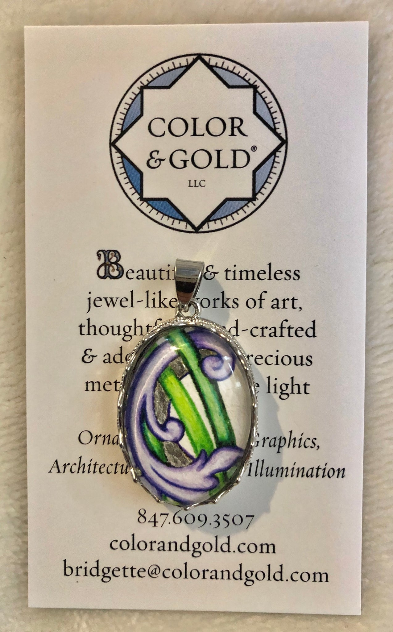 Color & Gold Generous Vines Pendant in Palladium Leaf
