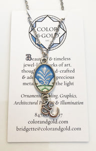 Color & Gold Silver Sage Ohm Necklace