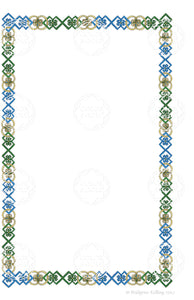 Custom green & blue colored pencil ornamental border clip art - Color & Gold LLC © Bridgette Kelling