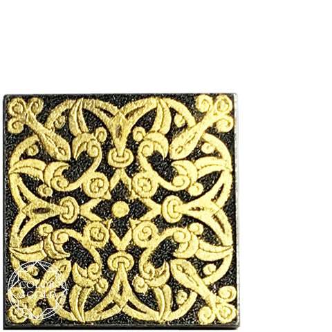 "Arabesque dark grey 2"" square gold gilded metal tile - Color & Gold LLC © Bridgette Kelling"