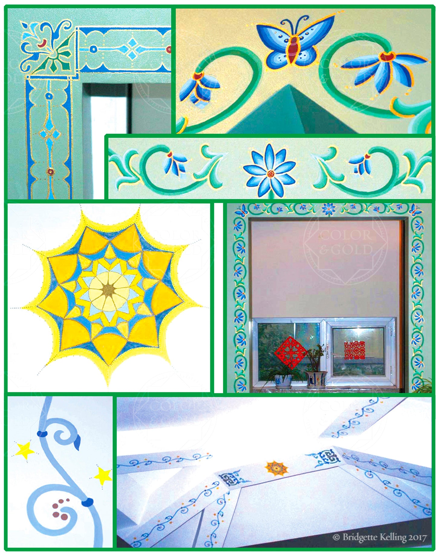Paintings for a school in Beijing using school colors & international designs - Color & Gold LLC © Bridgette Kelling