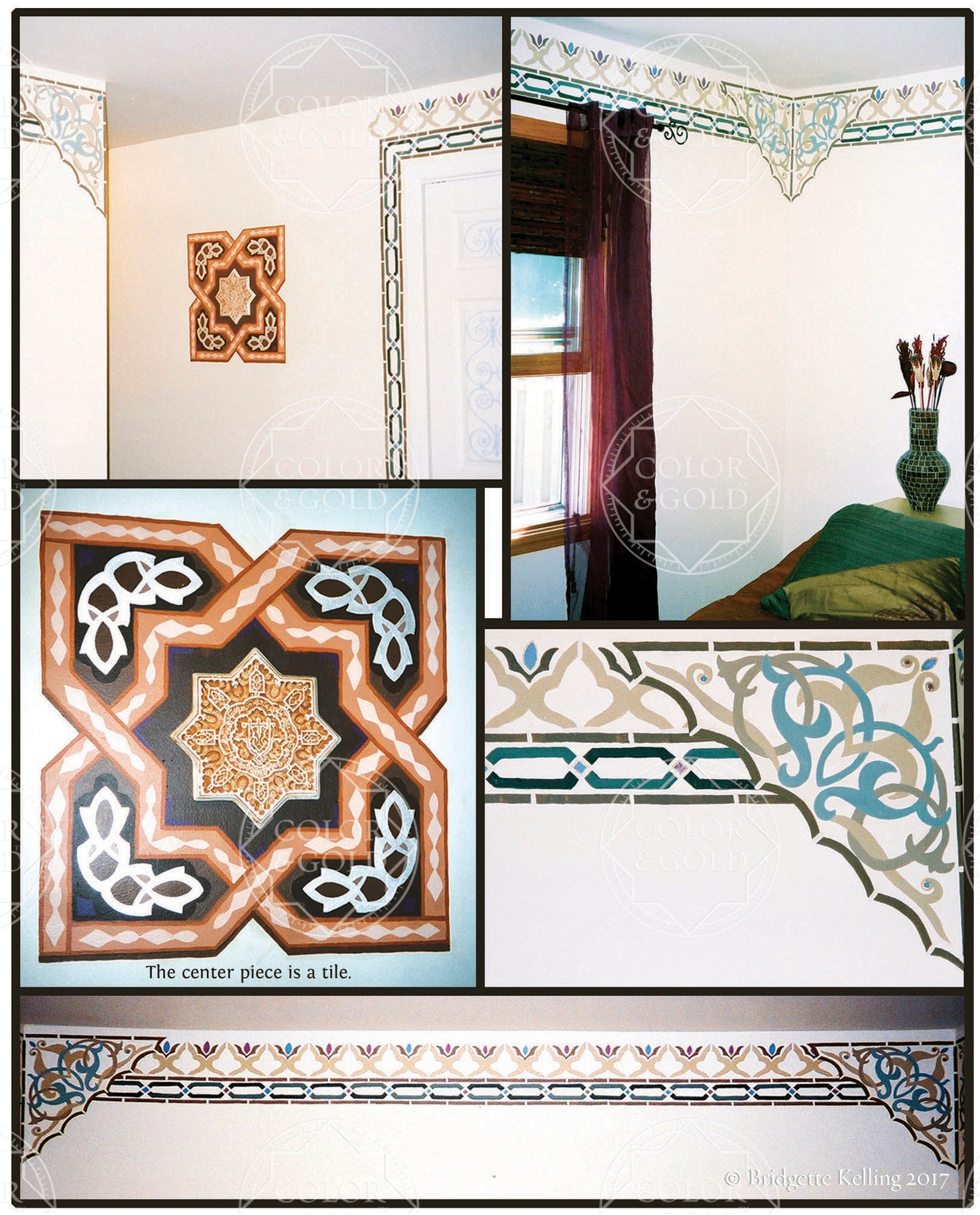Paintings for a Moroccan themed bedroom in brown & slate blue with a tile from the Alhambra Palace - Color & Gold LLC © Bridgette Kelling