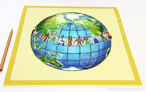 Joyful colored pencil reprint of children holding hands around the world - Color & Gold LLC © Bridgette Kelling