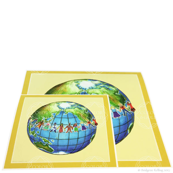 Joyful colored pencil reprint of children holding hands around the world in two sizes- Color & Gold LLC © Bridgette Kelling