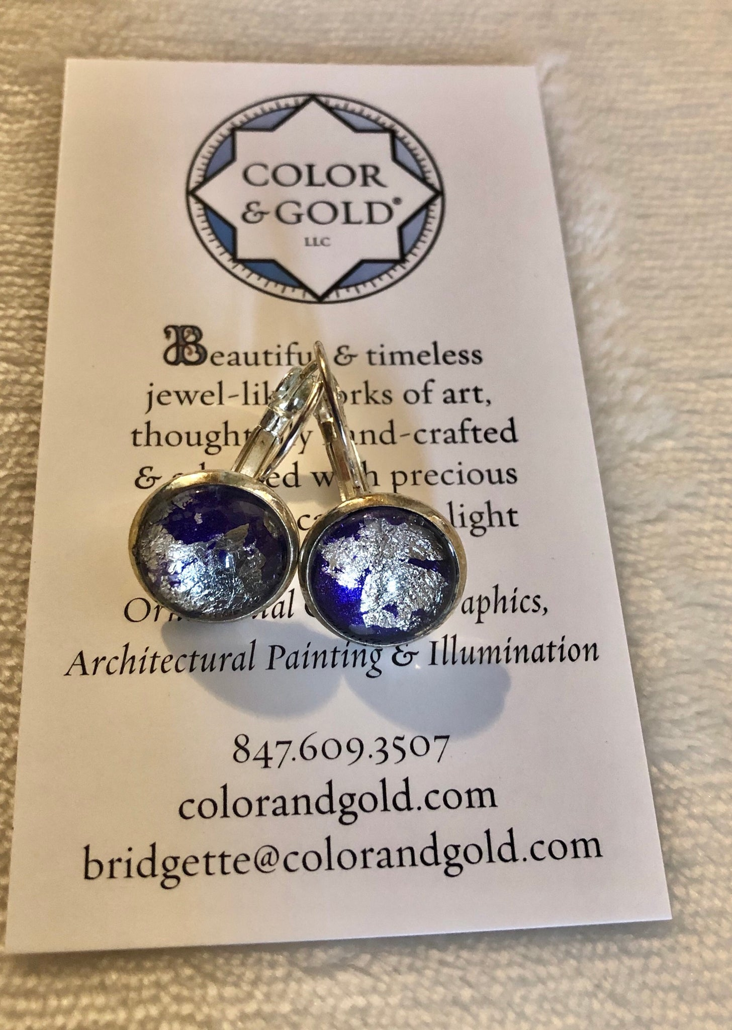Color & Gold Abstract Earrings in purple & palladium