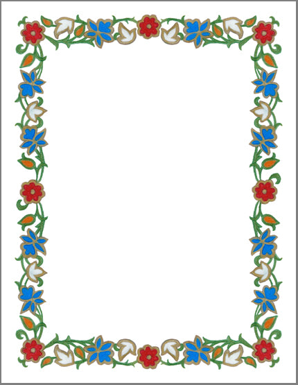 "8.5""x11"" Enamel Wreathl Border - Color & Gold LLC © Bridgette Kelling"