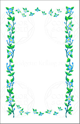 "5.5""x8.5"" Floating Flowers Border - Color & Gold LLC © Bridgette Kelling"