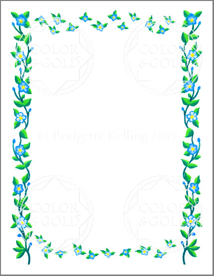 "8.5""x11"" Floating Flowers Border - Color & Gold LLC © Bridgette Kelling"